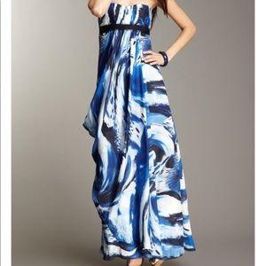 BCBG Cobalt Strapless Chiffon Evening Dress
